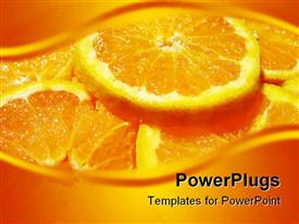 PowerPoint template displaying juicy orange in the background.