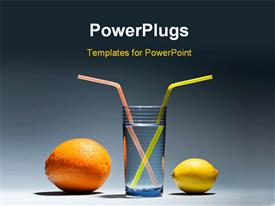 PowerPoint template displaying lemon with orange and glass of water with yellow straws close-up in the background.