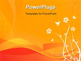 PowerPoint template displaying floral design on a orange wave background