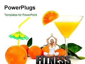 PowerPoint template displaying fresh and pure orange juice in glass with oranges around in the background.