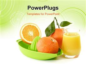 PowerPoint template displaying orange Juice with fruits and a green juicer. Shot in Studio in the background.