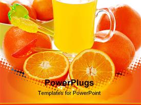 PowerPoint template displaying orange juice in glass and orange fruits around the glass in the background.