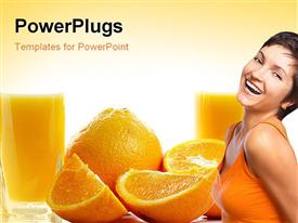 PowerPoint template displaying oranges and two glasses of juice against white background
