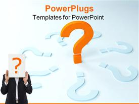 PowerPoint template displaying one 3D bright orange question mark in the background.