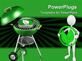 PowerPoint template displaying green barbecue grill with metallic leaf on it and man holding leaf