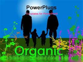 PowerPoint template displaying organic world with family, blue sky