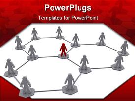 PowerPoint template displaying business team organization network diagram depiction in the background.