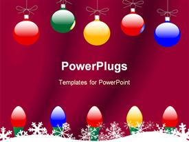 PowerPoint template displaying christmas theme with colorful globes and Christmas lights and snowflakes