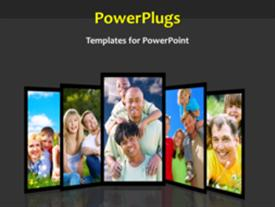 PowerPoint template displaying animated depiction with collage of happy family at park