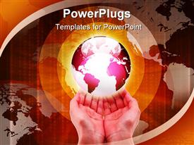 PowerPoint template displaying hands and Earth. Symbol of environmental protection