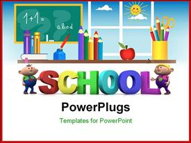 PowerPoint template displaying kids education with 3d letters , depicting class room learning