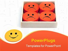 PowerPoint template displaying yellow smiling face next to box filled with orange frowning faces