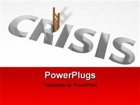 PowerPoint template displaying 3d image depicting crisis using ladder