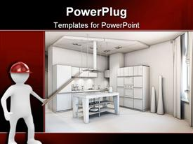 PowerPoint template displaying digital representation of kitchen interior design and architecture of kitchen with furniture and utilities and 3D figure with red construction hat pointing to design