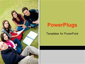 PowerPoint template displaying group of smiling college students study together outdoors on grass