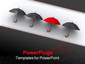 PowerPoint template displaying three black umbrellas and a red one