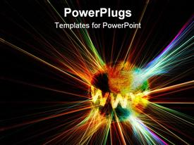 PowerPoint template displaying techno background: www on an exploding world