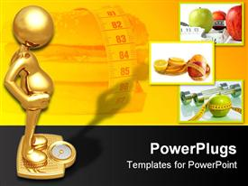 PowerPoint template displaying 3D golden figure on golden weighing machine, hamburger surrounded by measuring tape, three depictions of fruits with measuring tape around them on yellow and black background