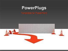PowerPoint template displaying red arrow workaround wall to overcome obstacles with grey color