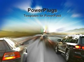 PowerPoint template displaying two powerful cars in blurry motion close-up in the background.