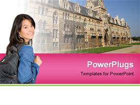 PowerPoint template displaying christ church college oxford university England UK in the background.