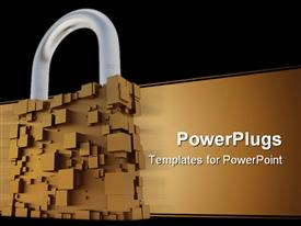PowerPoint template displaying abstract padlock made up of brown cubes, brown streak, black border