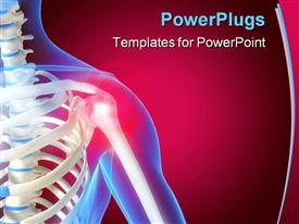 PowerPoint template displaying skeleton showing the anatomy of shoulder, red color indicating pain in the shoulder