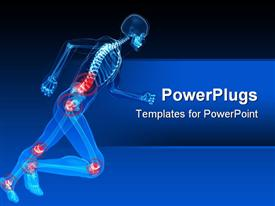 PowerPoint template displaying blue x ray of  in action skeleton health issue joint red highlight with blue sophisticated background
