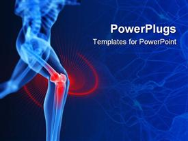 PowerPoint template displaying a running skeleton with highlighted knee