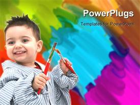 PowerPoint template displaying cute kid in dad's shirt holding paint brushes with colorful paint daubs