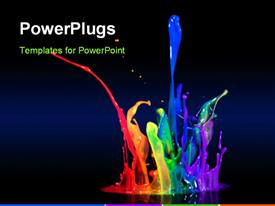 PowerPoint template displaying beautiful multi color paint splash with black color