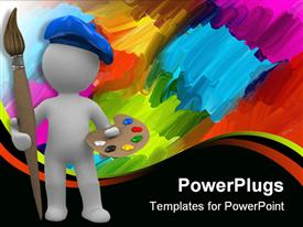PowerPoint template displaying abstract artist with paintbrush and palette, abstract paint background