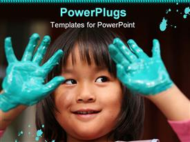 PowerPoint template displaying pretty Asian girl with both her hands dipped in paint