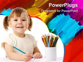 PowerPoint template displaying smiling happy girl with colored pencils in cup and painting in the background