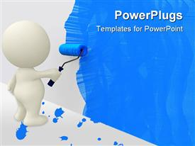 PowerPoint template displaying white cartoon man painting wall blue with roller
