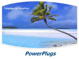PowerPoint template displaying palm tree on a beautiful tropical beach