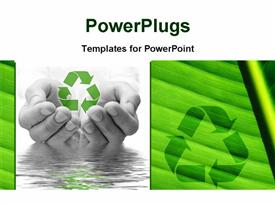 PowerPoint template displaying saving of water and recycling concept with hands