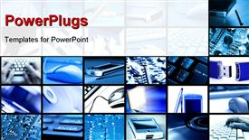 PowerPoint template displaying multi panel image with different technology devices