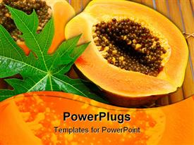 PowerPoint template displaying cut papaya and wet leaf on bamboo