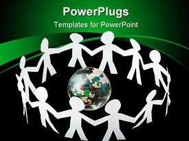 PowerPoint template displaying lots of human paper cut figures holding hands round an earth