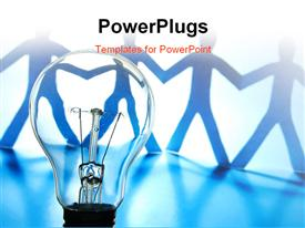 PowerPoint template displaying concept of team work using bulb and humanoids holding hands