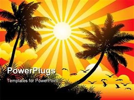 PowerPoint template displaying vector illustration showing sunny beach with birds and trees with sunrays