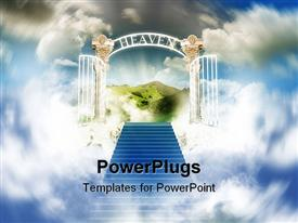 Stairway to heaven in cloudy sky powerpoint theme