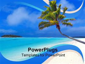 PowerPoint template displaying day light view of a leaning coconut tree on a beach