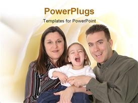 PowerPoint template displaying parents with naughty baby with smooth yellow shades