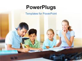 PowerPoint template displaying family sitting together and doing homework with room