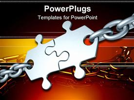 PowerPoint template displaying two puzzle pieces together with a steel chain