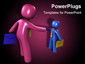PowerPoint template displaying 3D big purple and small blue figures shaking hands holding suitcases