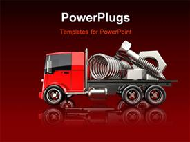 Large chrome nuts bolts and springs sitting on a red flatbed truck template for powerpoint