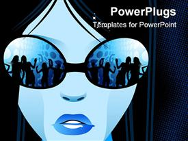 PowerPoint template displaying cool girl looking at a party in a nightclub through sunglasses